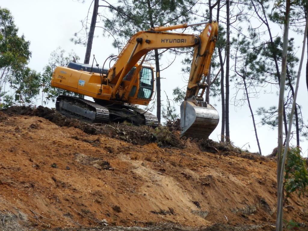Escavação incorrecta